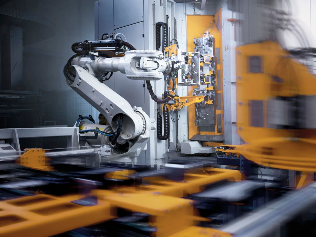 industrial robot in modern factory