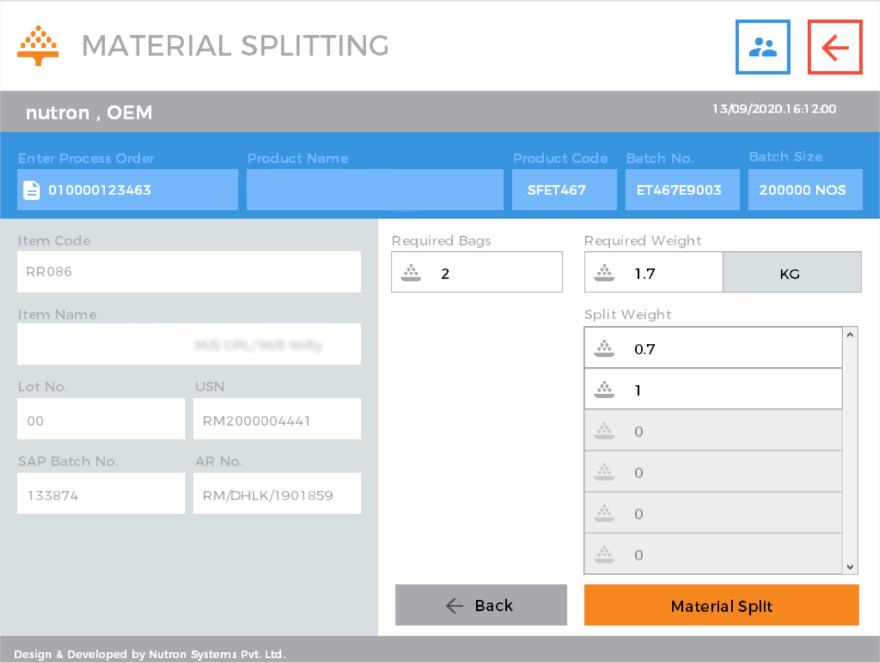 Weighing & Dispensing: Material Splitting